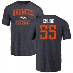 Men's Bradley Chubb Denver Broncos Navy Distressed Name & Number Tri-Blend T-Shirt